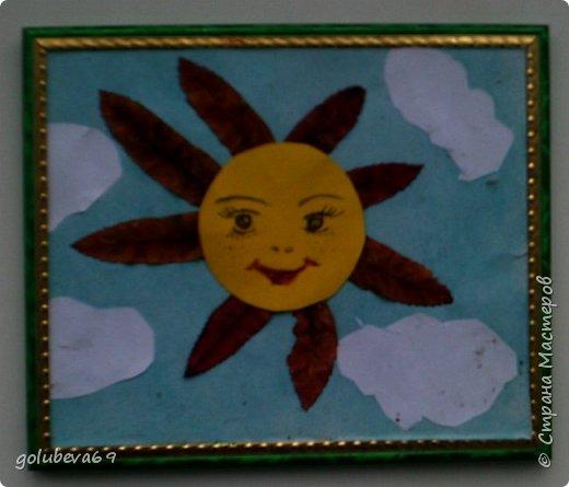 Это солнышко из осенних листочков сделал обучающийся 1 класса. фото 1