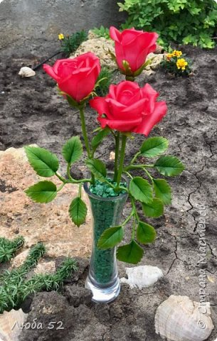 Композиция из трех роз. Выполнена из холодного фарфора.  фото 2