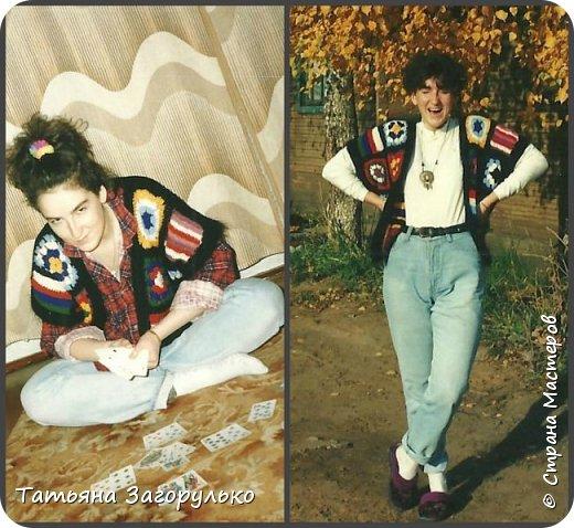 Собрала малую часть (то, что случайно нашлось в альбомах)  вязалочек прошлых лет воедино...   Джемпер с индейским орнаментом. Очень его любила. Вообще любила контрасты: черно-белое, черно-красное, бело-красное... Да и сейчас люблю)))   фото 13