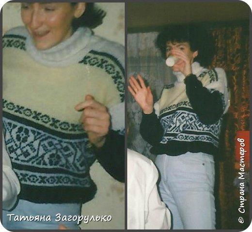 Собрала малую часть (то, что случайно нашлось в альбомах)  вязалочек прошлых лет воедино...   Джемпер с индейским орнаментом. Очень его любила. Вообще любила контрасты: черно-белое, черно-красное, бело-красное... Да и сейчас люблю)))   фото 19