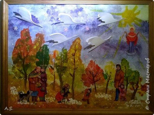 """Уже несколько лет наша любимая поделка - """"Журавлики летят"""" http://stranamasterov.ru/node/252207 (остальные """"журавлики"""" здесь). Первая осенняя поделка, делаем с малышами 5-6 лет, которые первый год приходят на занятия в Воскресную школу. А в этом году мы немного """"оживили"""" наш лес и получилась вот такая """"Прогулка в день Покрова""""."""