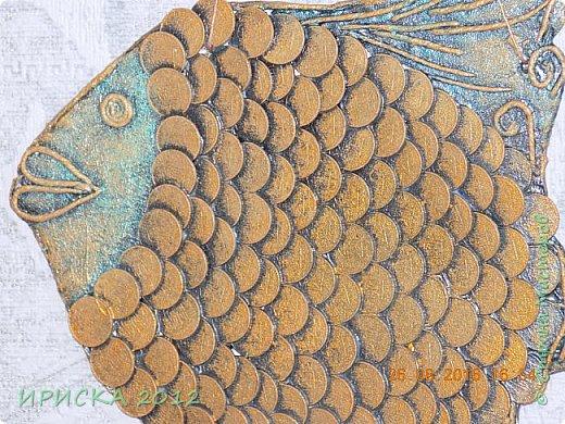 Приветствую жителей и гостей нашей прекрасной Страны Мастеров!!!  Я к Вам с золотой рыбкой. Задумка была очень давно и заготовка лежала с прошлого года. Сотворилась она у меня ко дню рождения моего папочки, он у меня заядлый рыбак. фото 5