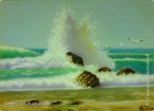Мое увлечение рисования пастелью набирает обороты ))  Волна... фото 1