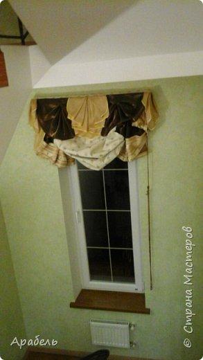 Из остатков шторных тканей сшилась такая штора - на длинное и узкое окно  фото 3