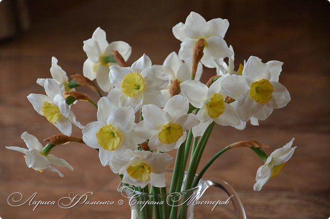 А у меня - Весна !!!  Нарциссы из полимерной глины.  Нарциссы у меня уже были, это повтор, они будут добавлены в два разных букета.   фото 3