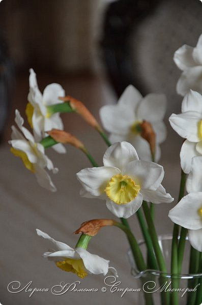 А у меня - Весна !!!  Нарциссы из полимерной глины.  Нарциссы у меня уже были, это повтор, они будут добавлены в два разных букета.   фото 5