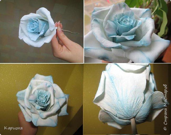 И снова здравствуйте! Наконец я  ее осилила!!!!! Попросили  для подарка сделать розу. Ну все бы ничего - но ее надо было сделать в сине-голубых тонах... Честно говоря - тяжеловато мне это далось. Ну вот что получилось судить вам! фото 17