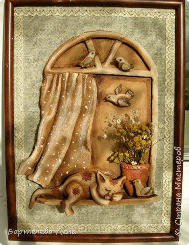 """Давно я ничего не выкладывала из глины)) Вот, делюсь свеженьким. Первая работа называется """"Бабушка рядышком с дедушкой"""")) Это про любовь навсегда)  Рельефное  панно из глины, тонированное гуашью и акварелью. фото 4"""