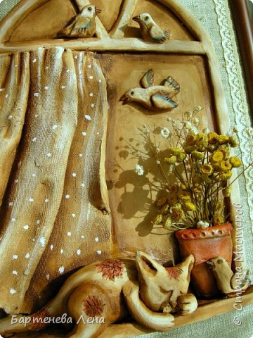 """Давно я ничего не выкладывала из глины)) Вот, делюсь свеженьким. Первая работа называется """"Бабушка рядышком с дедушкой"""")) Это про любовь навсегда)  Рельефное  панно из глины, тонированное гуашью и акварелью. фото 5"""