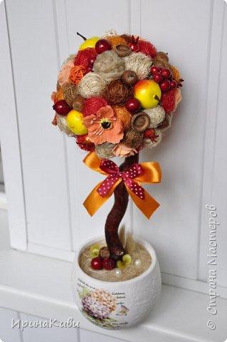 """К осенней теме идеально подходят природные материалы - желуди и их шляпки, каштаны, шишки и т.п. Они и использованы в следующих деревцах вместе с любимым материалом - сизалем.  Первый топиарий называется """"Осенний лес"""". фото 8"""