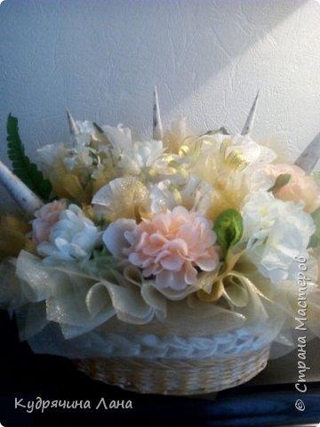 цветочная композиция в корзине фото 2