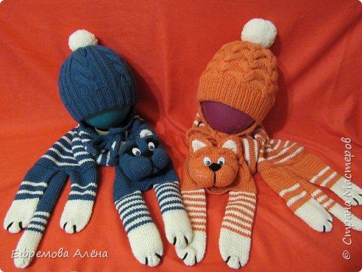 Вот такие шарфики и шапочки связались у меня для моих двойняшек крестиков Даниила и Дарьи фото 1
