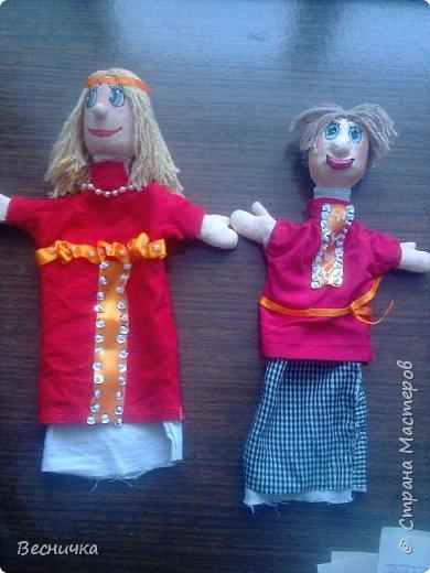 Здравствуйте, жители страны Мастеров! Вот таких перчаточных кукол сделала на конкурс. По рассказам нашего местного писателя Афоньшина С.В. Матрёнка и Дёмка.  фото 1