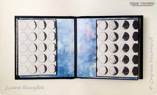"""Безумно красивая бумага от """"Артелье"""" попала в мои руки. Яркая со сложными геометрическими фигурами и, конечно же, космосом. Тот кто ее нарисовал большой молодец, а я вот заскрапила из нее альбом 15 х 15см. Более 50 фото вмещает он в себя благодаря различным конструкциям. фото 7"""