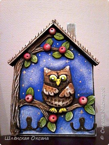 """Доброго времени суток,Страна Мастеров!Вторую ключницу решила сделать с лепниной,""""Ночь в саду"""".Петушки подставка для салфеток,по мк http://stranamasterov.ru/node/1020257 . фото 2"""