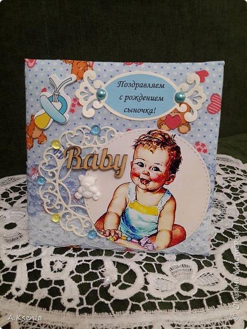 Сегодня на заказ сотворила тканевую открыточку к рождению маленького ангелочка. фото 1