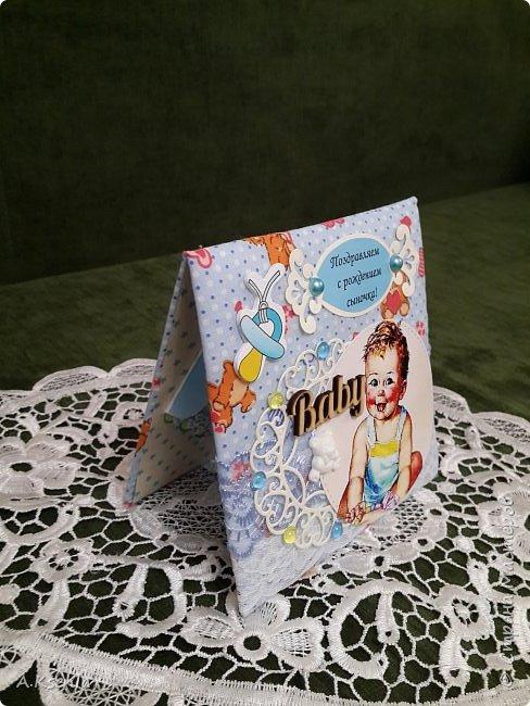 Сегодня на заказ сотворила тканевую открыточку к рождению маленького ангелочка. фото 3