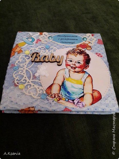 Сегодня на заказ сотворила тканевую открыточку к рождению маленького ангелочка. фото 2