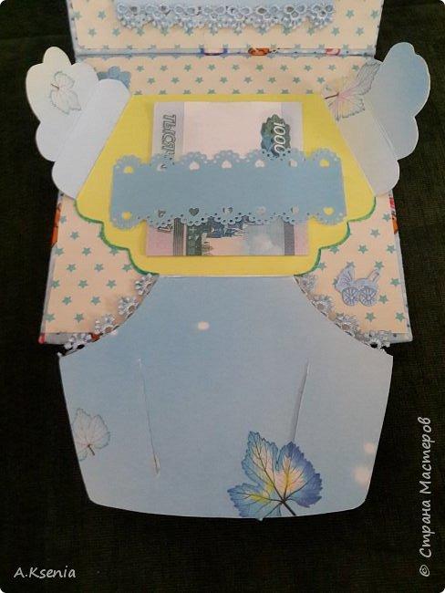 Сегодня на заказ сотворила тканевую открыточку к рождению маленького ангелочка. фото 5