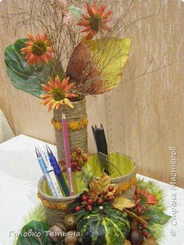 """Каждый год проходит в гимназии у сына выставка: """" Природа и фантазия"""". Вот такую карандашницу смастерили в этом году. Спасибо за идею Маюття, http://stranamasterov.ru/node/1051105?c=favorite фото 11"""