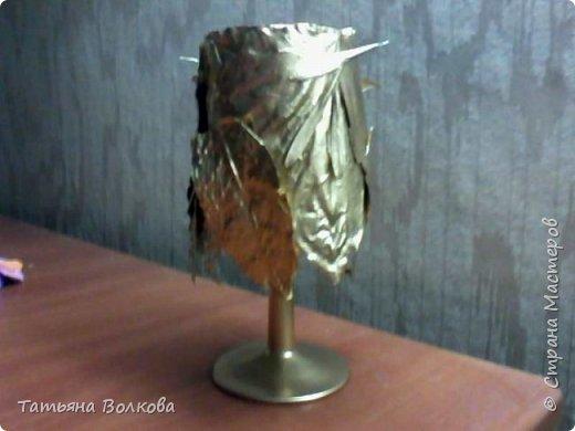Бокал, сухие осенние листья, золотая краска, двусторонний скотч, семена ясеня. фото 1