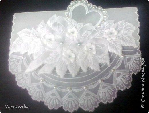 Открытка конверт в технике пергамано на свадьбу фото 2