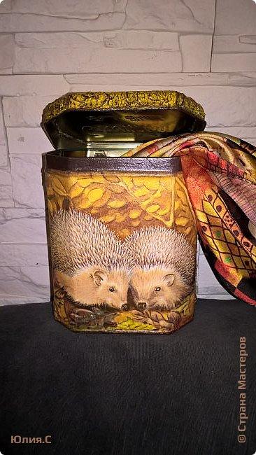 """Вот такая баночка сотворилась ко дню рождения мамы. Хотелось сделать что-то в осенних красках.  И уже подарив, поняла что сделала то в любимой маминой """"ежиной"""" теме. За основу взяла жестяную баночку от чая. А в баночку вложена вторая часть подарка - шарфик. фото 1"""