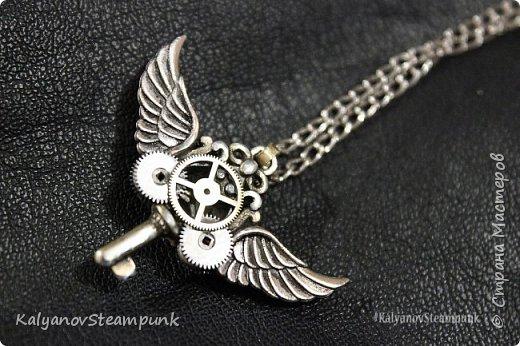 """Кулон ключ с крыльями """"Покоритель замкОв"""" в стиле стимпанк фото 2"""
