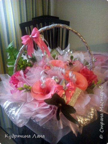 корзина с цветами из конфет фото 1