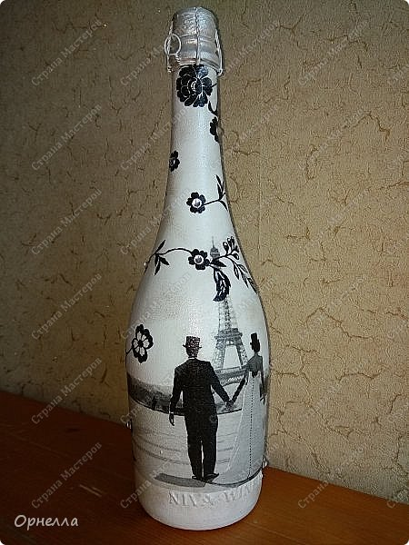 Доброго времени суток,жители и гости страны мастеров,бутылочку делала на годовщину свадьбы(желание заказчика в  чёрно-белых тонах) фото 1