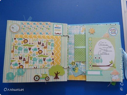 Альбом для крестника от рождения до года...На каждой страничке от 3-ех до 5-ти фотографий... фото 10