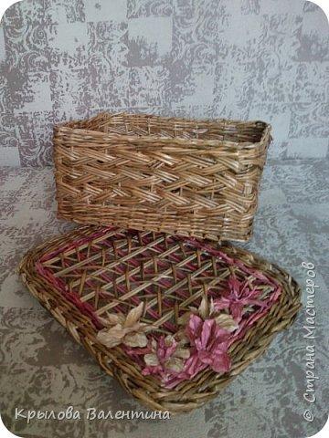 Вот такая корзиночка получилась , цветок из акварельной бумаги, трубочки окрашены морилками мокко и лиственница. размеры высота с ручкой 30см, диаметр 18 см фото 3