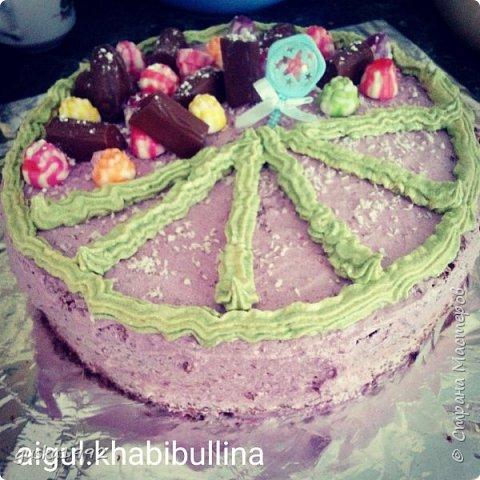 Этоторт торт я испекла, когда мы встречали племянника из роддома, внутри творожный крем и шоколадный бисквит)) фото 2