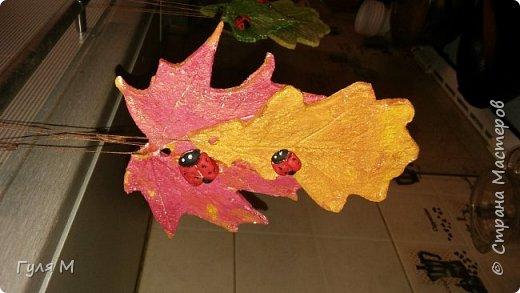 Вот и готова наша поделка в сад. Листья и божьи коровки из соленого теста. Нашлось применение и корзинке))) листья сделали на веревочке, при желании можно и повешать.  фото 3