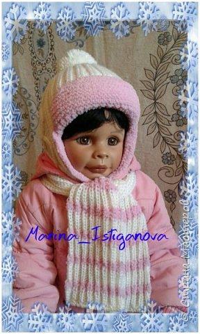 Представляю вашему вниманию свою очередную работу. Наступили холода и пришло время вязать теплые вещички . Эта шапка на зиму для моей внучатой племянницы Дашульки.  фото 1