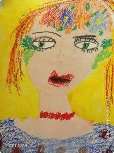 Рисовали с детьми подготовительной группы красавицу Осень масляной пастелью, лист тонировали акварелью. фото 5