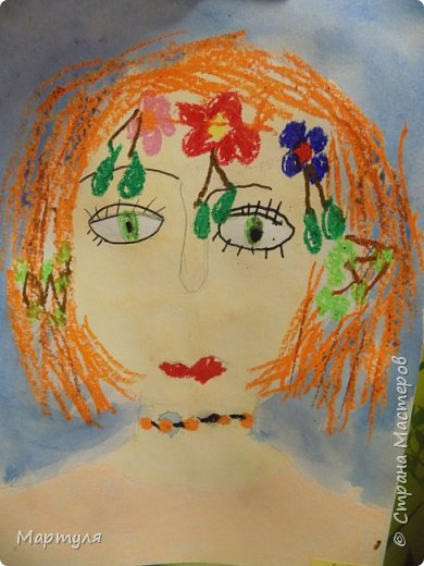 Рисовали с детьми подготовительной группы красавицу Осень масляной пастелью, лист тонировали акварелью. фото 9