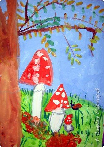 """Благодаря работе Марины """"Мы рисуем осень"""" (http://stranamasterov.ru/node/1049345), у нас тоже появилась своя осенняя рощица. Первая работа моя, потом немного детских (возраст 5-6 лет). фото 27"""