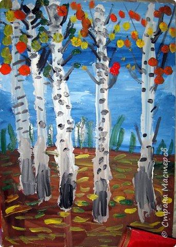 """Благодаря работе Марины """"Мы рисуем осень"""" (http://stranamasterov.ru/node/1049345), у нас тоже появилась своя осенняя рощица. Первая работа моя, потом немного детских (возраст 5-6 лет). фото 4"""
