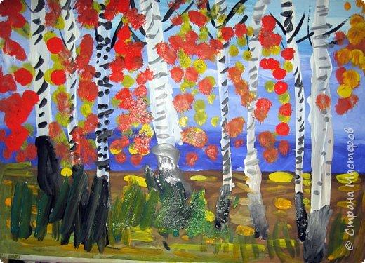 """Благодаря работе Марины """"Мы рисуем осень"""" (http://stranamasterov.ru/node/1049345), у нас тоже появилась своя осенняя рощица. Первая работа моя, потом немного детских (возраст 5-6 лет). фото 5"""
