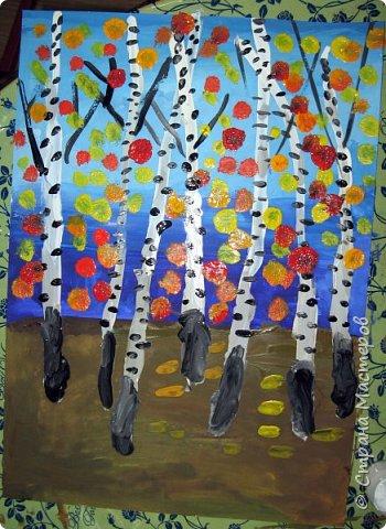 """Благодаря работе Марины """"Мы рисуем осень"""" (http://stranamasterov.ru/node/1049345), у нас тоже появилась своя осенняя рощица. Первая работа моя, потом немного детских (возраст 5-6 лет). фото 8"""