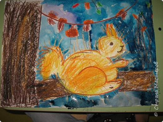 """Благодаря работе Марины """"Мы рисуем осень"""" (http://stranamasterov.ru/node/1049345), у нас тоже появилась своя осенняя рощица. Первая работа моя, потом немного детских (возраст 5-6 лет). фото 21"""
