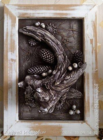 Рамка деревянная (замазюканая шпатлёвкой) зачищена наждаком и вскрыта раствором ПВА Фон-ДВП А всё остальное привезено с Карпат)))))) Иголки  Коряга Шишки Жёлуди   фото 1