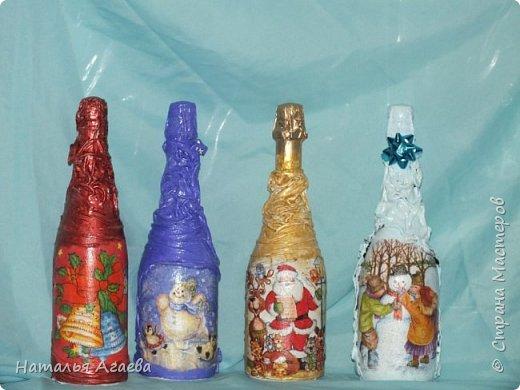 Эти бутылочки задекорированы тканью и салфетками   фото 1