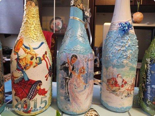 Эти бутылочки задекорированы тканью и салфетками   фото 10