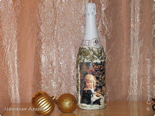 Эти бутылочки задекорированы тканью и салфетками   фото 5
