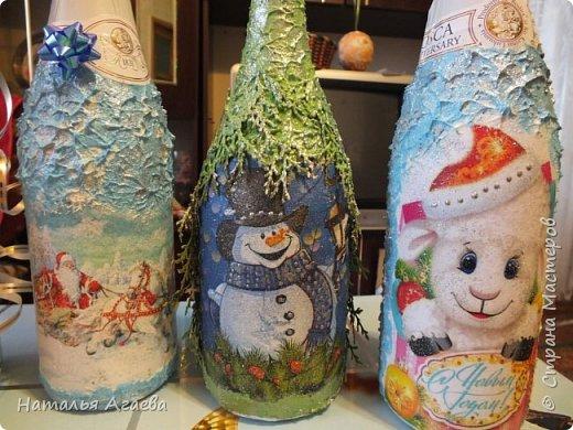 Эти бутылочки задекорированы тканью и салфетками   фото 2