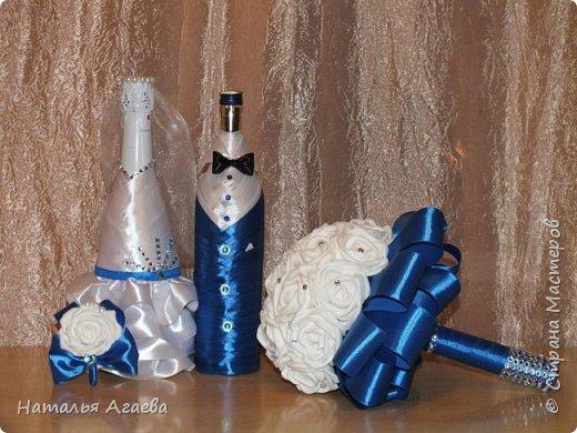 Свадебный букет и бутылки фото 1
