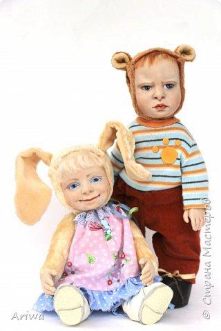 Вот так, постепенно, я  стала делать то, к чему всегда стремилась моя душа). Я постигаю науку создания кукол и тедди игрушек в разных техниках, у разных мастеров. Сегодня я хочу познакомить вас с моими детками. Девочка зайка и мальчик мишутка.  фото 1