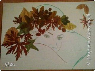 Леди-осень. Осенняя аппликация из листьев в школу на урок технологии.
